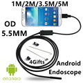 5.5mm Lens USB Endoscope 6 LED IP67 Waterproof Camera Endoscope 1M/2M/3.5/5M, Mini Camera Android OTG Phone Mirror Hook As Gift