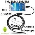 5.5mm Lente Del Endoscopio Del USB 6 LED IP67 Impermeable de la Cámara Endoscopio 1 M/2 M/3.5/5 M, Mini Cámara Android OTG Teléfono Espejo Gancho Como Regalo