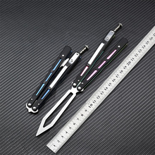 все цены на BRS REP New Bearing Fluency Training Knife Butterfly Folding Knife Camping Huniting EDC Tools 440C Blade G10+Steel Handle онлайн