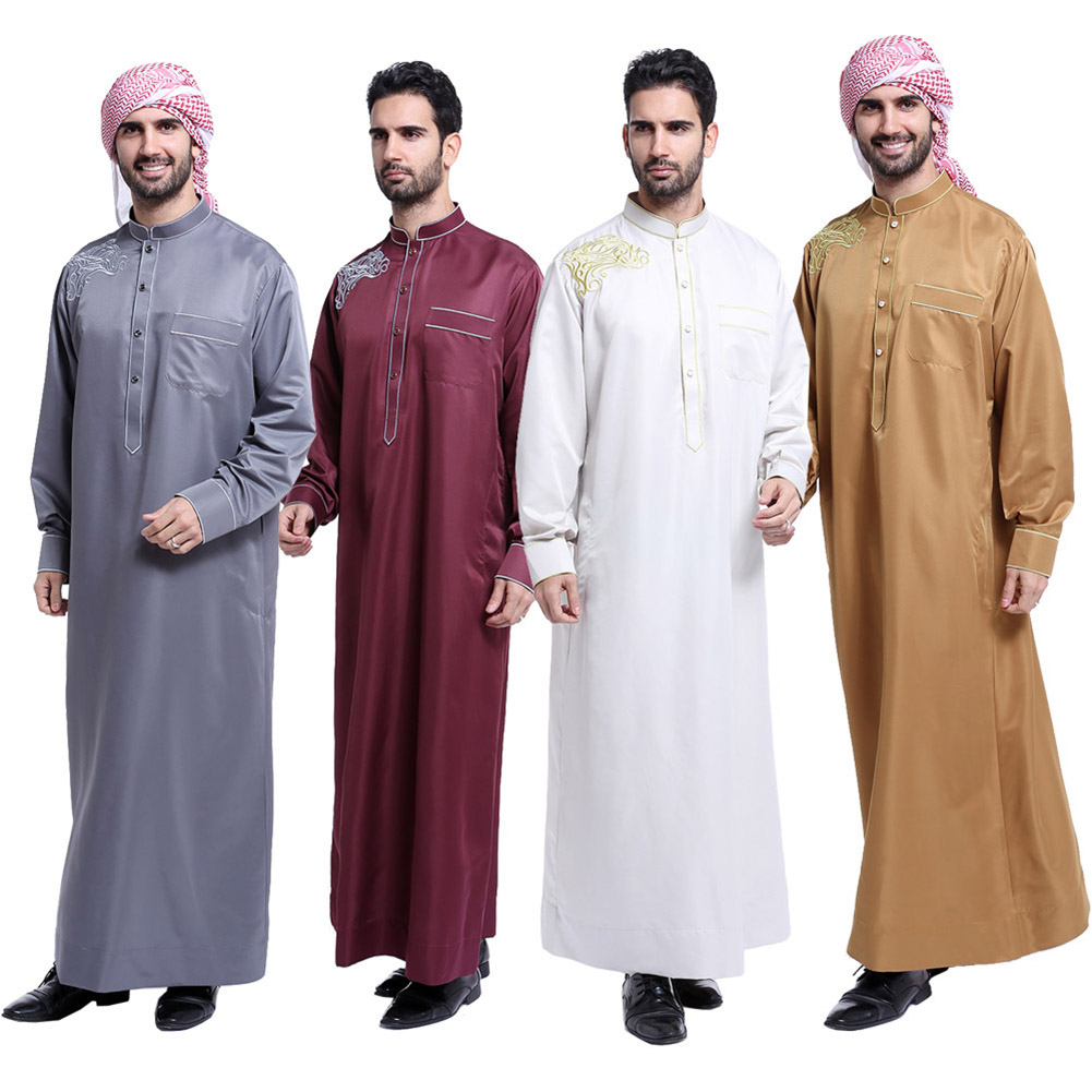 Fashion Muslim Clothing Men Robes Long Sleeve Embroidery Pattern Arab Dubai Indian Middle East Islamic Man Thobe Kaftan