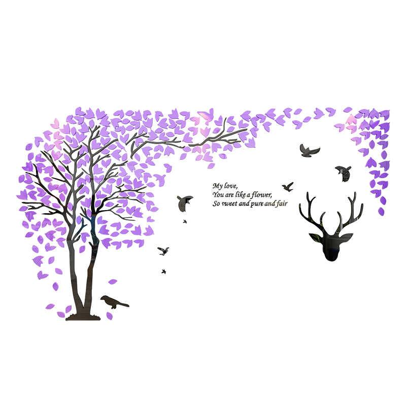 Лесной Олень 3D стикер на стену гладкое зеркало акриловый ситкер для дивана ТВ фон Настенный декор креативные влюбленные обои с деревьями