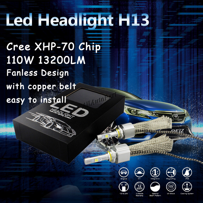 Aliexpress Com   Buy Fanless H13 Ultra Bright Led Headlight Conversion Kit 55w 6600lm 6000k