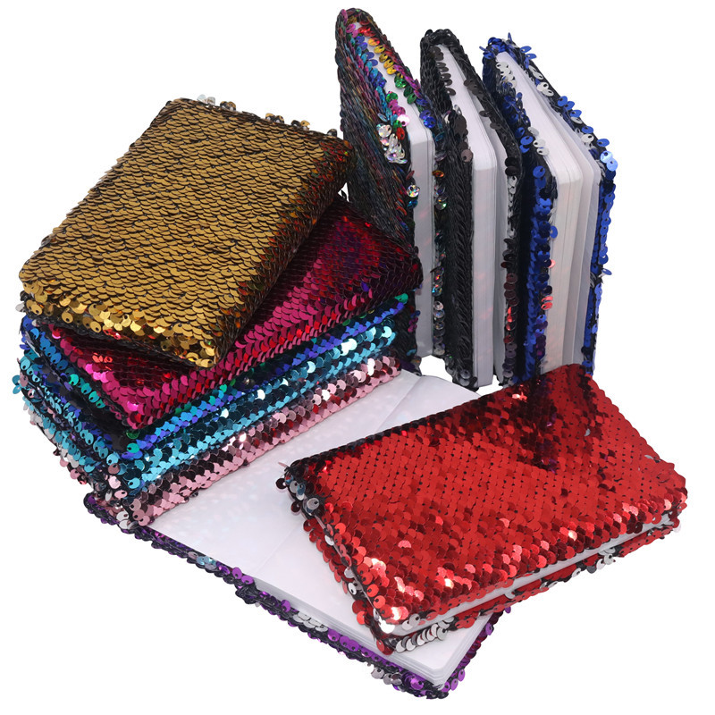 1 Pcs Creative Sequins Notebook Notepad Glitter Diary Memos Stationery Office Supplies Stationery 78 Sheets Small Gift