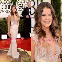 free shipping 2015 Annual Golden Globe Awards Sosie Bacon Sexy Mermaid Jewel Chiffon Celebrity Dresses with Appliques Red Carpet