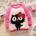 Осень теплая зима с бантом милые кошка с длинными рукавами флис бархатной трикотаж детей девушки сгустите свитер S2125