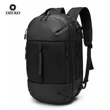 OZUKO mâle multifonctionnel noir 15.6 pouces sac à dos pour ordinateur portable hommes étanche grande capacité sacs à dos voyage sacs Mochila nouveau 2019