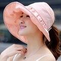 2016 mujeres del verano sombrero del cubo Chapeau moda de ala ancha de protección solar impreso Floral sombrero Sunbonnet casquillo de la playa B-2266
