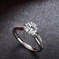 Certificado 1 Carat Siempre Brillante Anillo de Compromiso Moissanite Mujeres Sólido 18 K Oro Blanco Puro con Diamantes Naturales Regalo de Acento