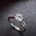 Certified 1 Carat Forever Brilliant Moissanite Engagement Ring Women Solid 18K Pure White Gold with Natural Diamonds Accent Gift