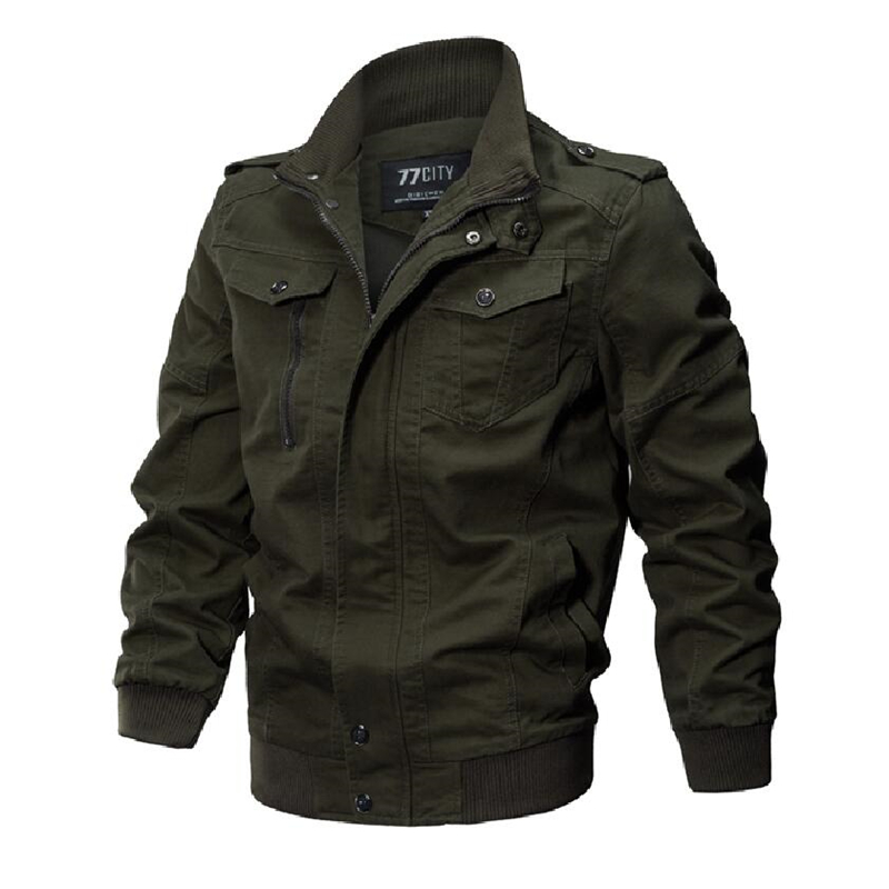 Plus Size Bomber Jacket Men Autumn Winter Outwear Casual Cotton Washed Coats Stand Collar Army Military