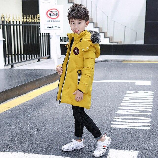 2018 г. модная зимняя куртка для Одежда для маленьких мальчиков зимнее пальто для мальчиков длинные Hooeded теплые куртки верхняя одежда парки Вниз хлопковые пальто