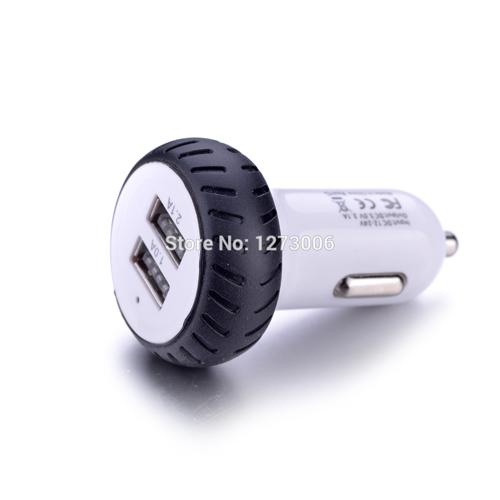 HOT SALE 1pcs 2USB Car-charger DC 5V 1A 2.1A The Wheels Car Charger Installed LED Light For Mart-phones Ipad Of Car-styling NEW