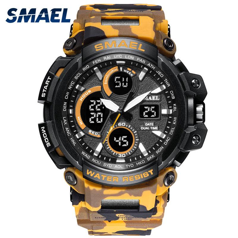 SMAEL Militaire Camo montre bracelet Homme montres de sport étanche 2018 top Marque De Luxe montre de mode 1708B poignet numérique montre