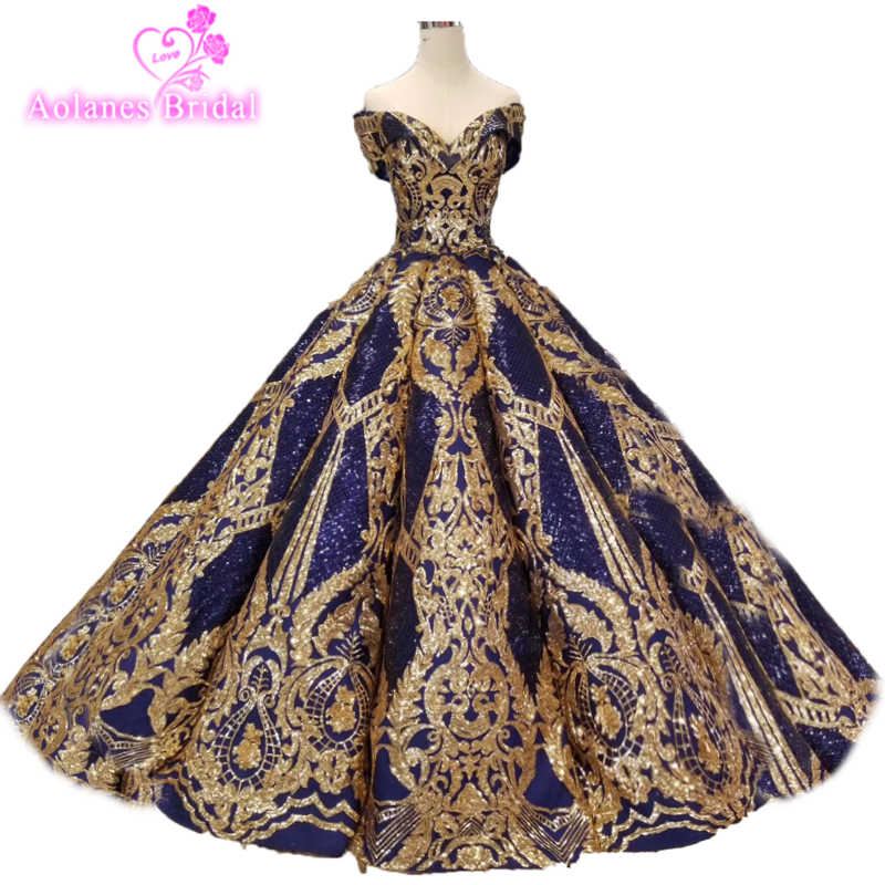 28cf24b1e9963 2019 Luxury Red Roryal Gold Lace Applique Puffy Prom Dresses Couture ...