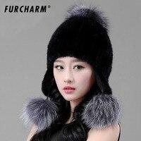 Women S Winter Hats Knitted Beanie Cap With Fox Fur Ball Women Customized Headgear Hat For