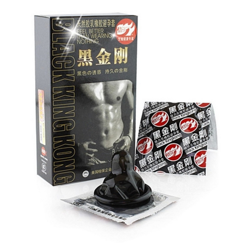 10pcs Black Condoms Ultra Thin Penis Sleeve Long Lasting Natural Latex Lubricated Condoms Men Contraception Sex Products