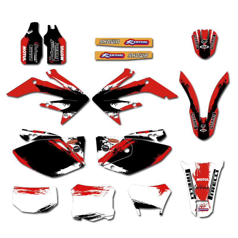 GRAPHICS BACKGROUNDS DECAL STICKERS Kit for Honda CRF250X 2004 2005 2006 2007 2008 2009 2010 2011