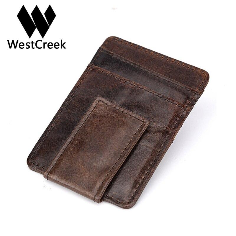 Westcreek Marque Véritable Cuir Hommes Vintage Money Clip Poche Avant Pince Pour L'argent Aimant Magique Mince Voyage Portefeuilles Carte Cas