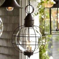 Железный промышленный Лофт наружный подвесной светильник Глобус многоцелевой подвесные светильники для сада прохода со стеклянным абажур