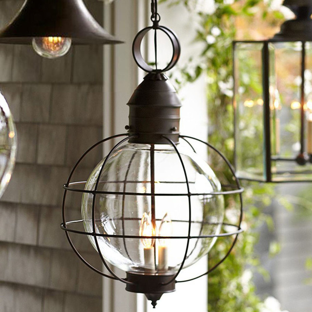 Iron industrial loft outdoor pendant lamp globe multipurpose hanging iron industrial loft outdoor pendant lamp globe multipurpose hanging lights for garden aisle with glass lampshade aloadofball Gallery