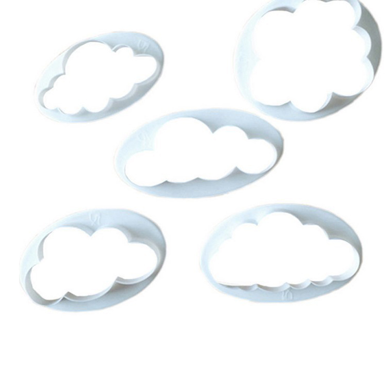 5 Pcs Plastic Cloud 3D Cutter Mold Cookie Biscuit Sugarcraft Dessert Baking Mould Fondant Cake Decor Tools Kit @LS