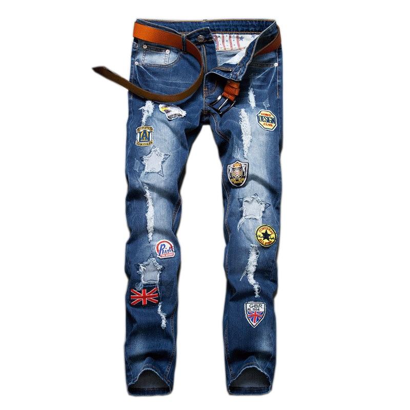 2017 Mens Fashion Jeans Men Pants Male Patches Ripped Jeans For Men Slim Straight Designer Denim Biker Jeans Wholesale