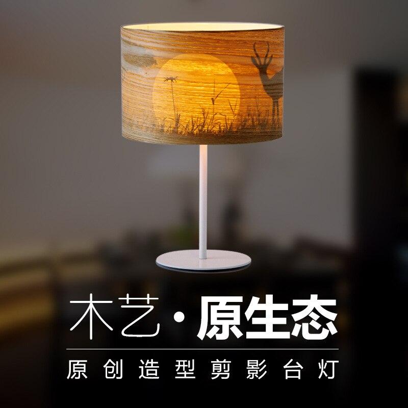 Manufacturers selling led wooden decoration bedside lamp hotel room wood veneer silhouette sunset desk lamp the bedroom
