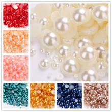 Mixed 3mm 4mm 5mm 6mm 8mm 10mm 1000pcs Acrylic Beads Pearl Imitation Half Round Flatback  For Jewelry Making DIY Accessories