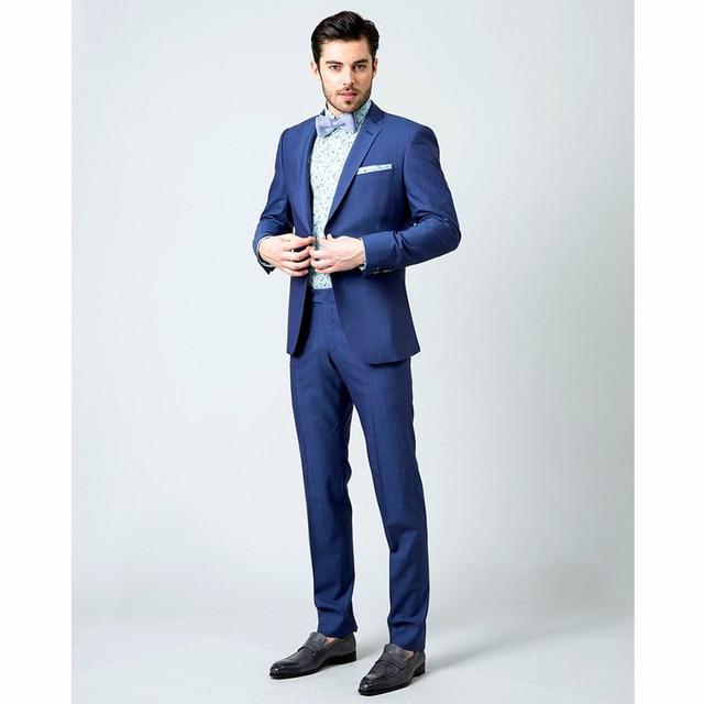2018 nuevo azul por encargo para hombre vestido de los trajes Slim Fit boda  novios esmoquin 96e607ac61a