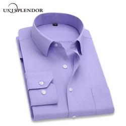 2019 Для мужчин платье-рубашка с длинными рукавами Брендовые мужские рубашки дизайнер высокое качество Твердые мужской Костюмы Fit Бизнес