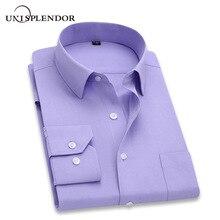 64cc9134d 2019 homens camisa de vestido de manga comprida slim marca homem camisas  designer alta qualidade sólida masculino roupas fit cam.
