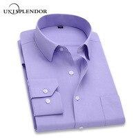 2019 Мужская рубашка с длинным рукавом, тонкая брендовая мужская рубашка, дизайнерская Высококачественная однотонная мужская одежда, подход...