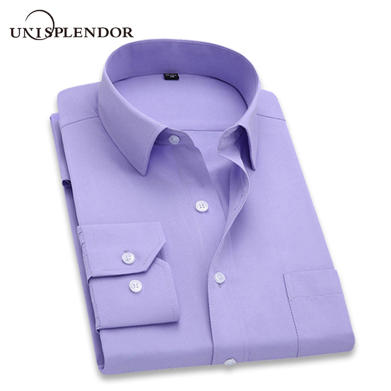2019 Чоловіча сорочка з довгим рукавом Тонкий бренд Чоловіча сорочка Дизайнерська високоякісна тверда чоловіча одяг Fit бізнес сорочки 4XL YN045