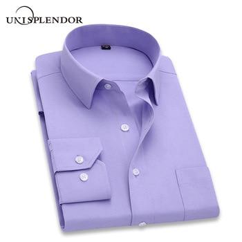 2019 Men Dress Shirt Long Sleeve Slim Brand Man Shirts Designer High Quality Solid Male Clothing Fit Business Shirts 4XL YN045