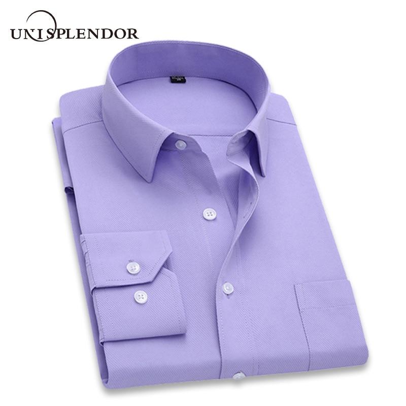 2019 camisa de vestir de manga larga ajustada de marca de Hombre Camisas de diseñador de alta calidad sólida ropa de hombre Fit camisas de negocios 4XL YN045
