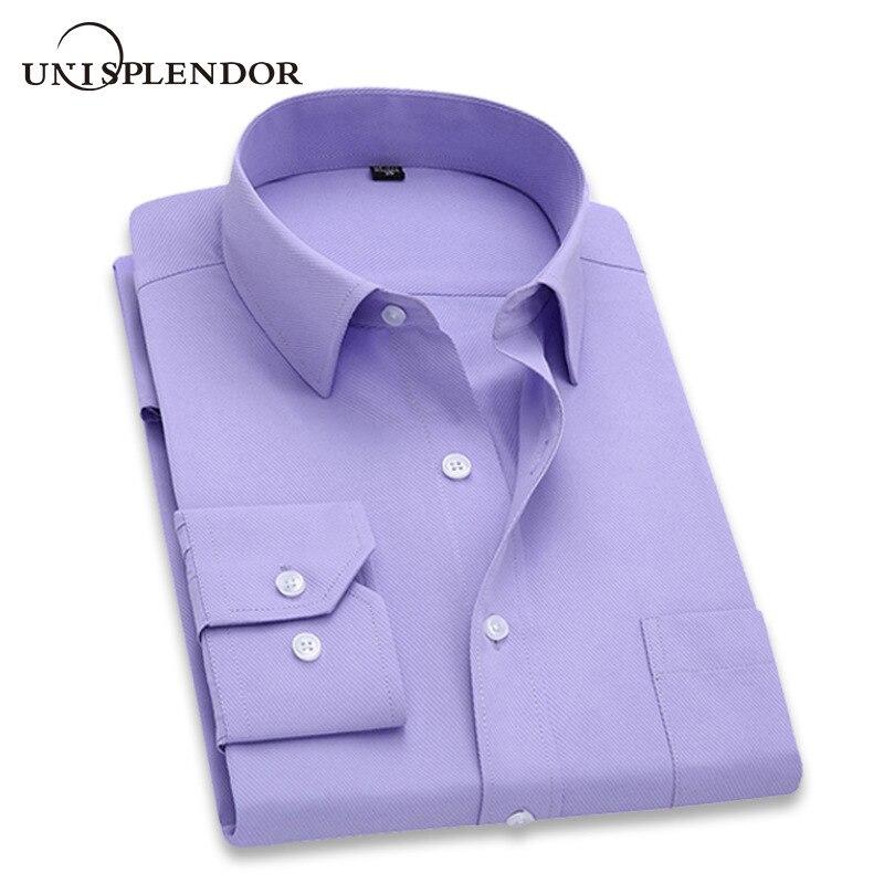 2020 hommes robe chemise à manches longues mince marque homme chemises concepteur de haute qualité solide mâle vêtements Fit affaires chemises 4XL YN045