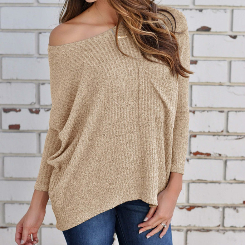 Women Knitting Sweaters Loose Type Size S To 3XL Slash Neck Full Sleeve Solid Color Khaki Pink Gray Black Blue Sexy Style Cloth