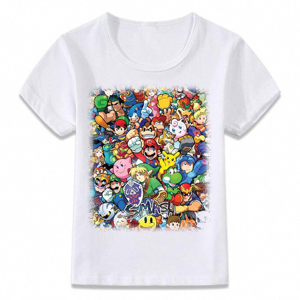 Kids Clothes T Shirt Super Smash Bros Mario Link Star Fox Pikachu Children T-shirt For Boys And Girls Toddler Shirts Tee Oal172