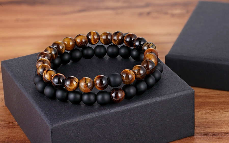 Onyx and Tiger Eye Beads for men