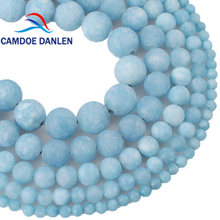 Natural Stone Beads Matte Frosted Blue Chalcedony Aquamarines Round Loose Beads 4/6/8/10/12mm DIY Beads For Jewelry Making(China)