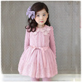 2016 New Arrival Spring cute flower Girls Dress Lace mesh Girl Clothing Long Sleeve Princess Dresses Toddler girls clothing