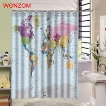 WONZOM 1Pcs World Map Waterproof Shower Curtain Bathroom Decor National Flag Decoration Cortina De Bano 2017 Bath Gift