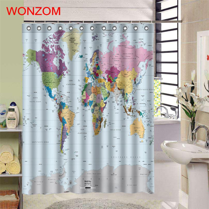 WONZOM 1Pcs World Map Waterproof Shower Curtain Bathroom Decor National Flag Decoration Cortina De Bano 2017 Bath Curtain Gift