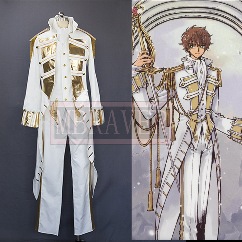Code Geass Knight of seven Man And Women Cos Anime Party Cosplay White Costume Uniform Costume