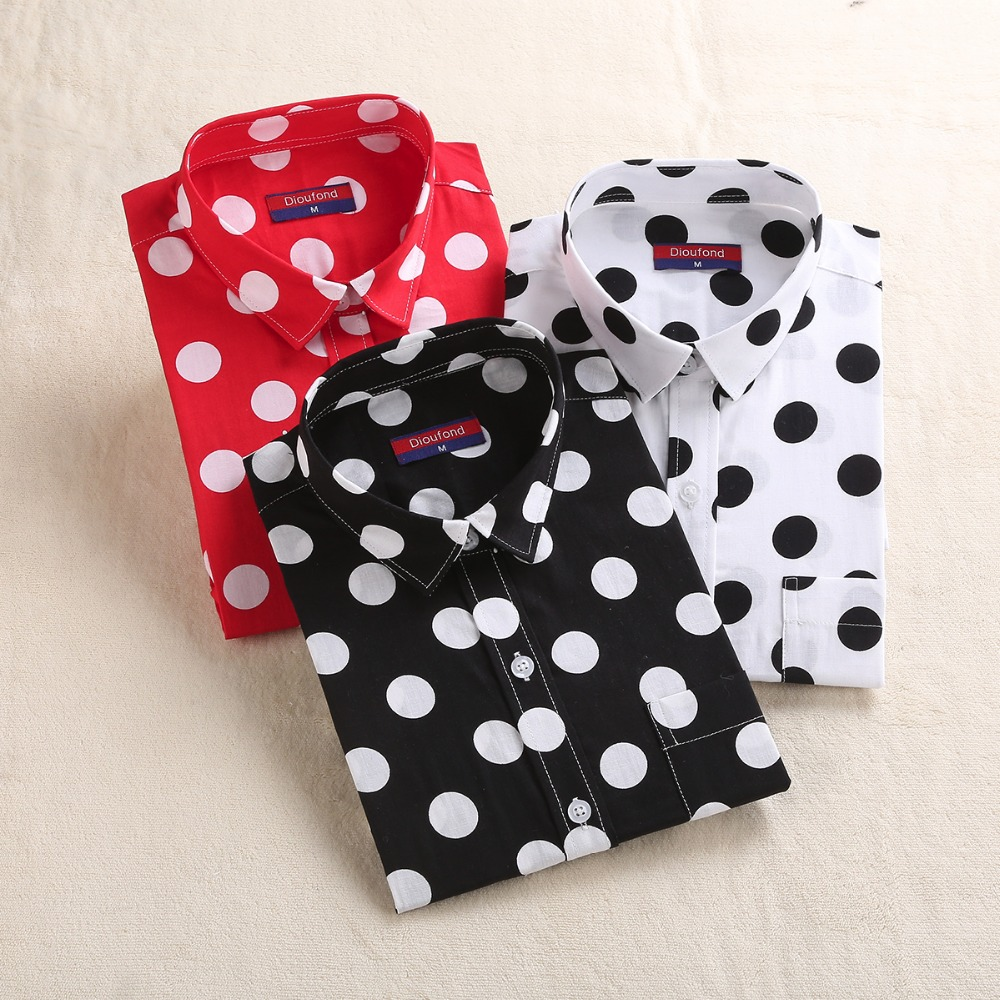 Dioufond Polka Dot Red Black Shirt Women Long Sleeve Blouse Cotton White Dot Shirts Plus Size Female Top Fashion Women Blouses