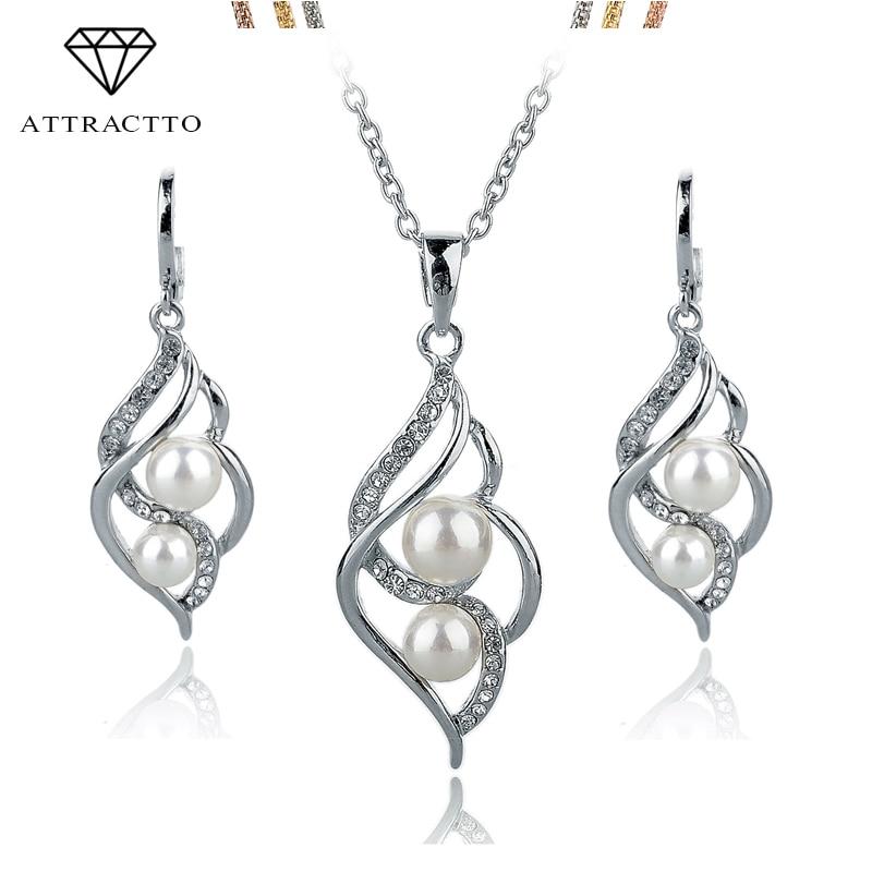 ATTRACTT Fashion Double Simulierter Perlenschmuck Gold Silber Farbe Ohrringe Halskette Set Kristall Hochzeit Zubehör SET140024
