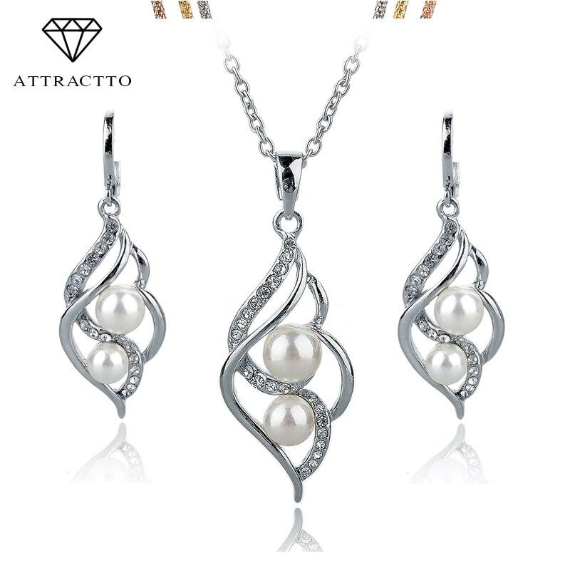 АТРАКТНИ модни двоструки симулирани бисерни накит златно сребрне минђуше огрлице Сет кристални венчани прибор СЕТ140024