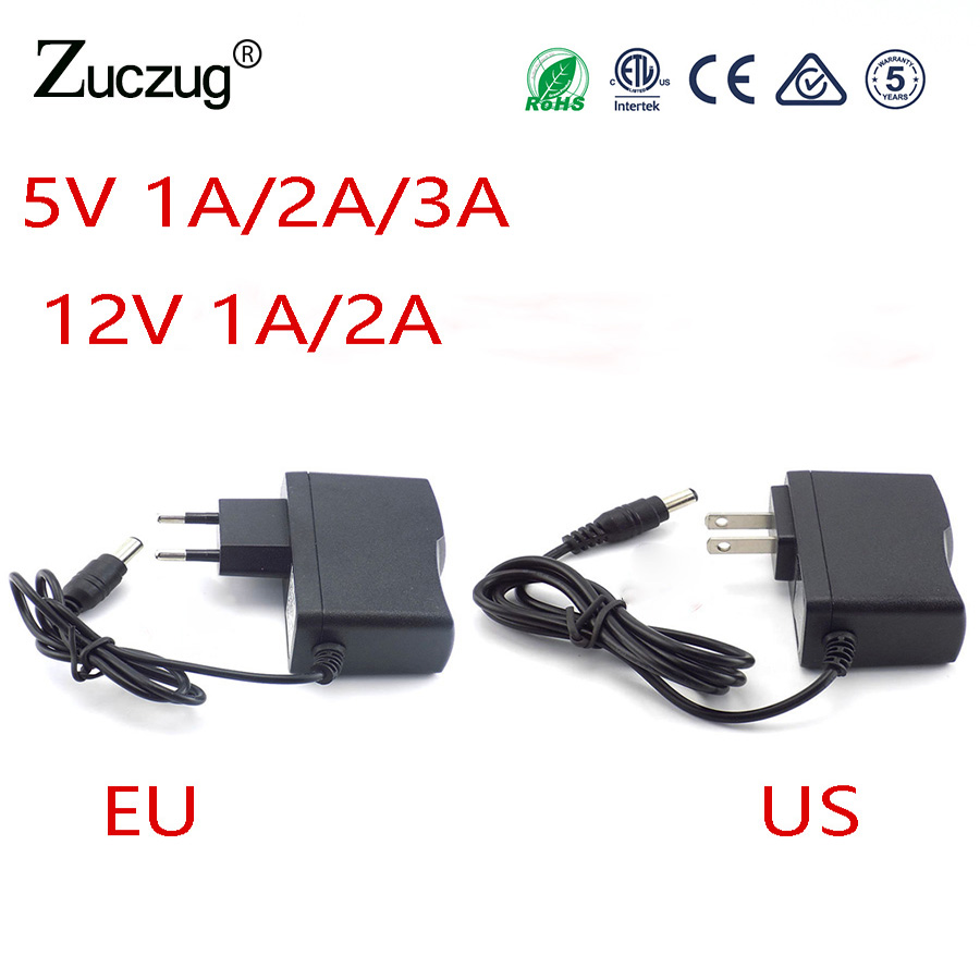 цены на Power Adapter AC to DC 5V 1 2 3A 12V 1A 2A Adaptor 5 12 v Switching Charger Supply EU US Plug transformator 220V For Led Strip