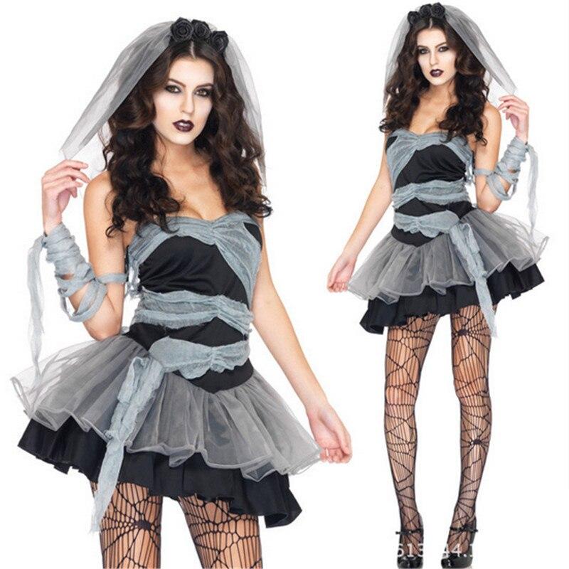 a7e4b714bb Sexy negro cabra novia halloween trajes para las mujeres señoras  ZombieCorpse Cosplay adulto del vestido de lujo del desgaste del Club  PartyCostume en ...