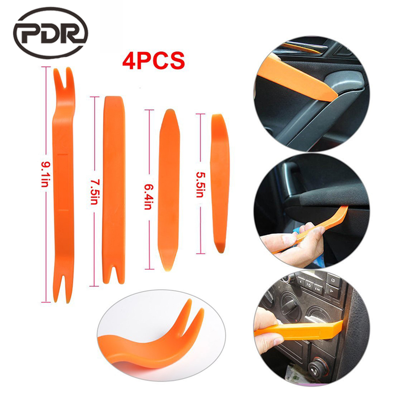 Super PDR 4Pcs Auto Door Clip Panel Trim Removal Tool Kits Car Dash Radio Audio Installer Pry Tool